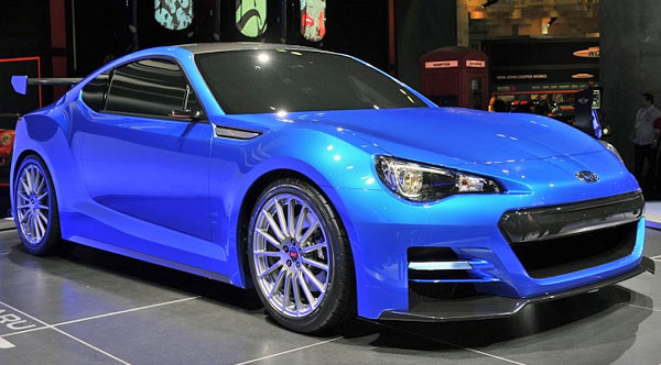 BRZ blue exhibition sports coupe