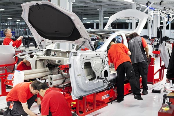A Tesla S vehicle in production.