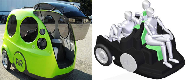<strong>AirPod - Interior</strong>.  This new transportation is handled through a couple of joysticks or levers with which you can lead and change the speed, this is part of a system called 'gyroscope'. It also has a screen / rearview mirror that lets you see the rear corner of the car.