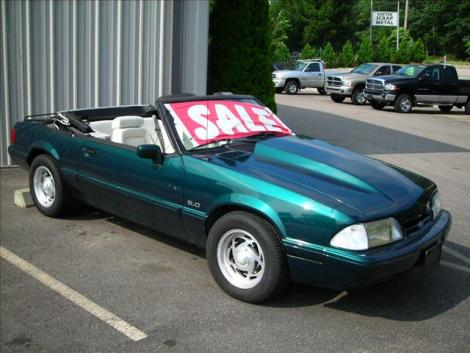 Photo #1: convertible: 1990 Ford Mustang (Emerald green / white)
